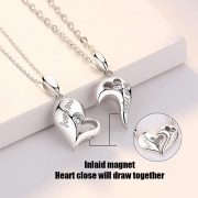 Love Magnetic Attraction Lovers Sterling Silver Pendant Necklace