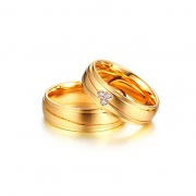Gold/Silver Titanium Steel Simple Couple Rings