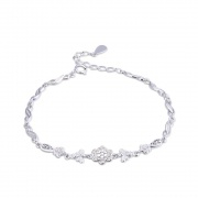 Rose Gold/Silver 925 Sterling Silver Fashion Lotus Bracelet