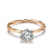 Rose Gold Plated 925 Sterling Silver Vine Engagement Rings