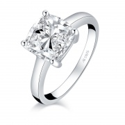 Classic Square SONA Diamond 925 Sterling Silver Rings