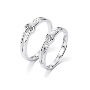 925 Sterling Silver Heart Love Couple Rings
