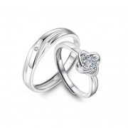 New Fashion S925 Sterling Silver Four-leaf Clover Couple Rings