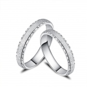 Simple Style S925 Sterling Silver Lettering Couple Rings