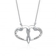 S925 Sterling Silver Double Heart Clavicle Necklace