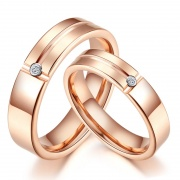 Rose Gold Trend Tungsten Diamond Couple Rings
