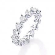 Love Moissanite Row Rings 925 Sterling Silver