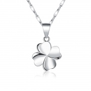 S925 Sterling Silver Female Clavicle Four Leaf Clover Necklace