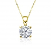 Four-claw Moissanite Pendant Sterling Silver Necklace