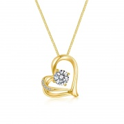 S925 Sterling Silver Heart-shaped Gold Crystal Necklace