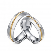 Silver Couples Promise Rings in Titanium Steel