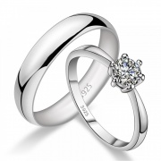 Engravable White Gold Couple Rings In Sterling Silver