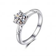 Sterling Silver Crystal Elegant Engagement Rings 1 Carat