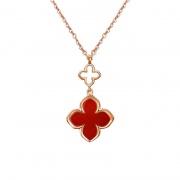 Red/Black Agate Four-leaf Clover Necklace