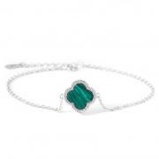 S925 Sterling Silver Four-leaf Clover Agate Bracelet