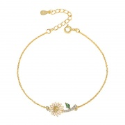 S925 Sterling Silver Daisy Simple Temperament Bracelet