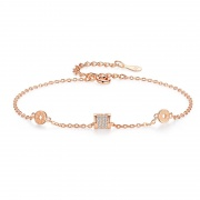 Sterling Silver Simple Slender Waist Shape Bracelet