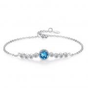 Sterling Silver Ocean Heart Swarovski Crystal Bracelet