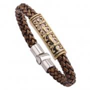 Men's Snake-print Leather Braided Punk Bracelet