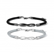 Mobius Ring Sterling Silver Braided Couple Bracelet