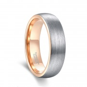Silver and Rose Gold Brushed Tungsten Rings