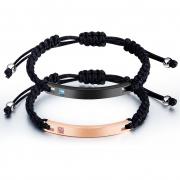 Trendy Lettering Titanium Steel Smooth Couple Bracelet