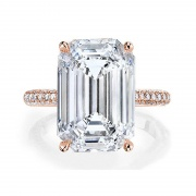 Emerald Cut Sona Diamond Rings in Sterling Silver