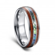 Abalone Shell & Wood Inlay Tungsten Rings