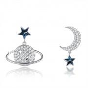 925 Sterling Silver Planet Moon Asymmetrical Earrings