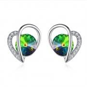 S925 Sterling Silver Heart-shaped Crystal Stud Earrings