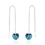 S925 Silver Ocean Heart Swarovski Crystal Earrings