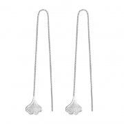 S925 Sterling Silver Ginkgo Leaf Chain Earrings