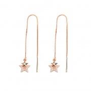S925 Sterling Silver Fashion Star Chain Earrings