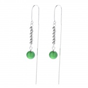 S925 Sterling Silver Natural Green Agate Earrings