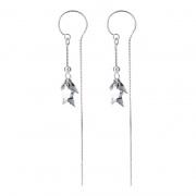 S925 Silver Fashion Maple Leaf Chain Earrings
