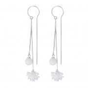 S925 Silver Simple Opal Temperament Chain Earrings
