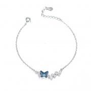 S925 Sterling Silver Butterfly Crystal Bracelet