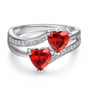 Colorful Heart Color Treasure Rings 925 Sterling Silver