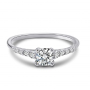 Round Full Moissan Diamond S925 Sterling Silver Closed Rings