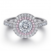 Exaggerated Ladies Silver Pink Zircon Combination Ring