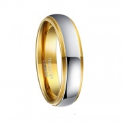 Gold and Silver Tungsten Rings Domed