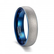 Matte Domed Silver and Blue Tungsten Rings