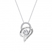 S925 Sterling Silver Double Heart Shaped Necklace