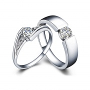 Round-cut Solitaire Promise Couples Rings In 925 Sterling Silver