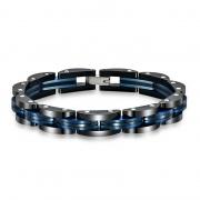 Personality Men's Black/Blue Titanium Steel Bracelet