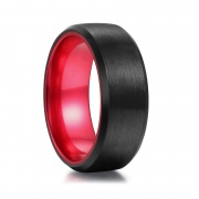 Black and Red Brushed Tungsten Rings
