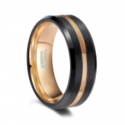 Black Tungsten Rings with Rose Gold Groove