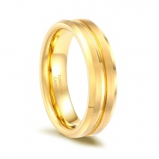 Gold Grooved Tungsten Rings