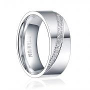 Silver CZ Titanium Rings
