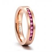 Rose Gold CZ Titanium Rings